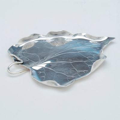 side of Marie Zimmermann (attr) Sterling Silver Arts and Crafts Naturalistic Leaf Dish, early/mid 20th c.
