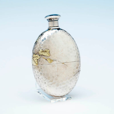 Back of the Tiffany and Co. Aesthetic Movement Antique Sterling Silver Flask, c. 1880