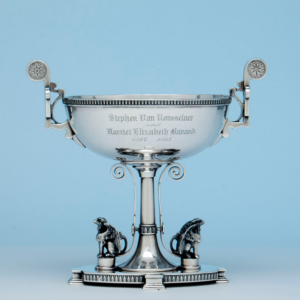 John Wendt Antique Sterling Silver Presentation Dish, NYC, c. 1867