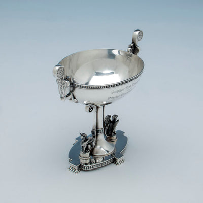 Interior of John Wendt Antique Sterling Silver Presentation Dish, NYC, c. 1867