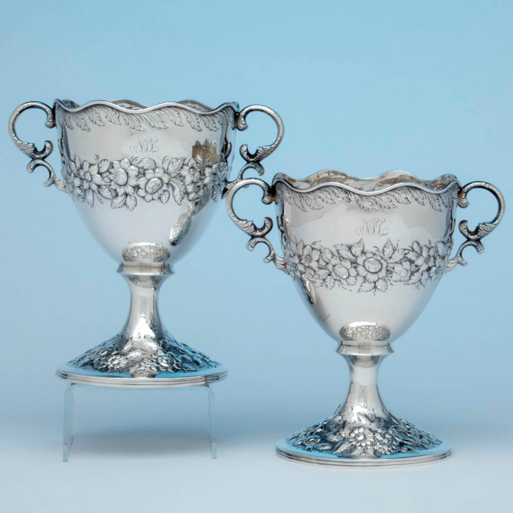 Samuel Kirk Pair of Antique Silver Vases, Baltimore, MD, 1830-46
