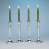 Angle view of Arthur Stone Set of 4 'Scrooby Oval' Arts and Crafts Sterling Candlesticks, Gardner, MA, c. 1920