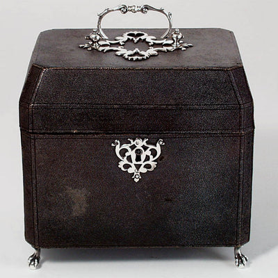 Container of Thomas Heming English Sterling Tea Caddy and Sugar Box in the Original Shagreen Box, London c. 1753
