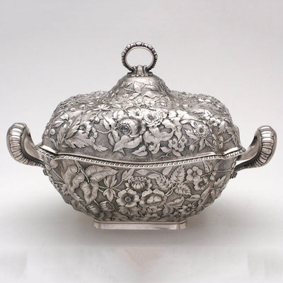 Dominick & Haff Antique Sterling Silver Repousse Soup Tureen, New York City, c. 1884