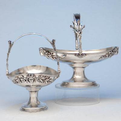Pair of Tiffany & Co Antique Sterling Silver Figural Baskets, New York City, c. 1873-75