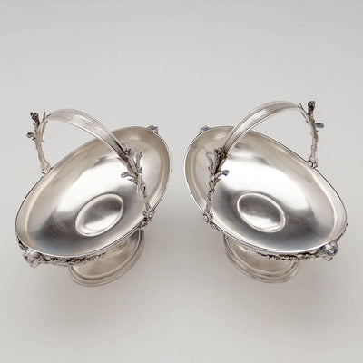 Interior of Pair of Tiffany & Co Antique Sterling Silver Figural Baskets, New York City, c. 1873-75