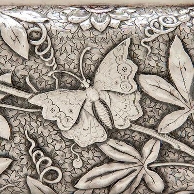 Closeup of Dominick & Haff Antique Sterling Silver Aesthetic Movement Covered Tureen, New York City, 1881