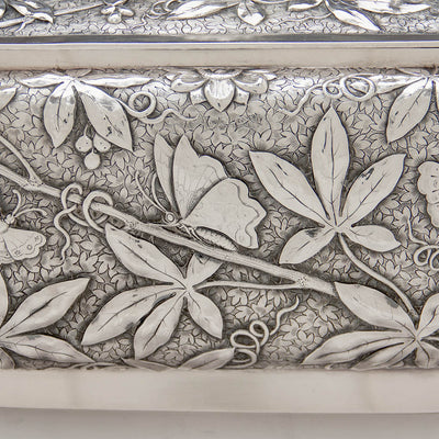 Sode detail of Dominick & Haff Antique Sterling Silver Aesthetic Movement Covered Tureen, New York City, 1881