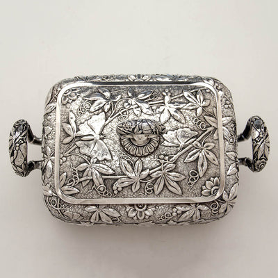 Top of Dominick & Haff Antique Sterling Silver Aesthetic Movement Covered Tureen, New York City, 1881