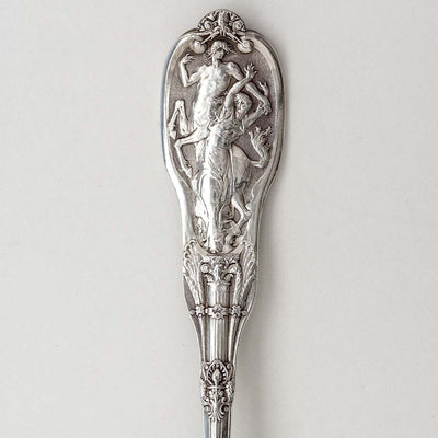 Dessert spoons detail on Gorham 'Mythologique' Pattern Antique Sterling Silver Flatware Service, Providence, RI, c. 1900, Retailed by J. E. Caldwell, Philadelphia, PA