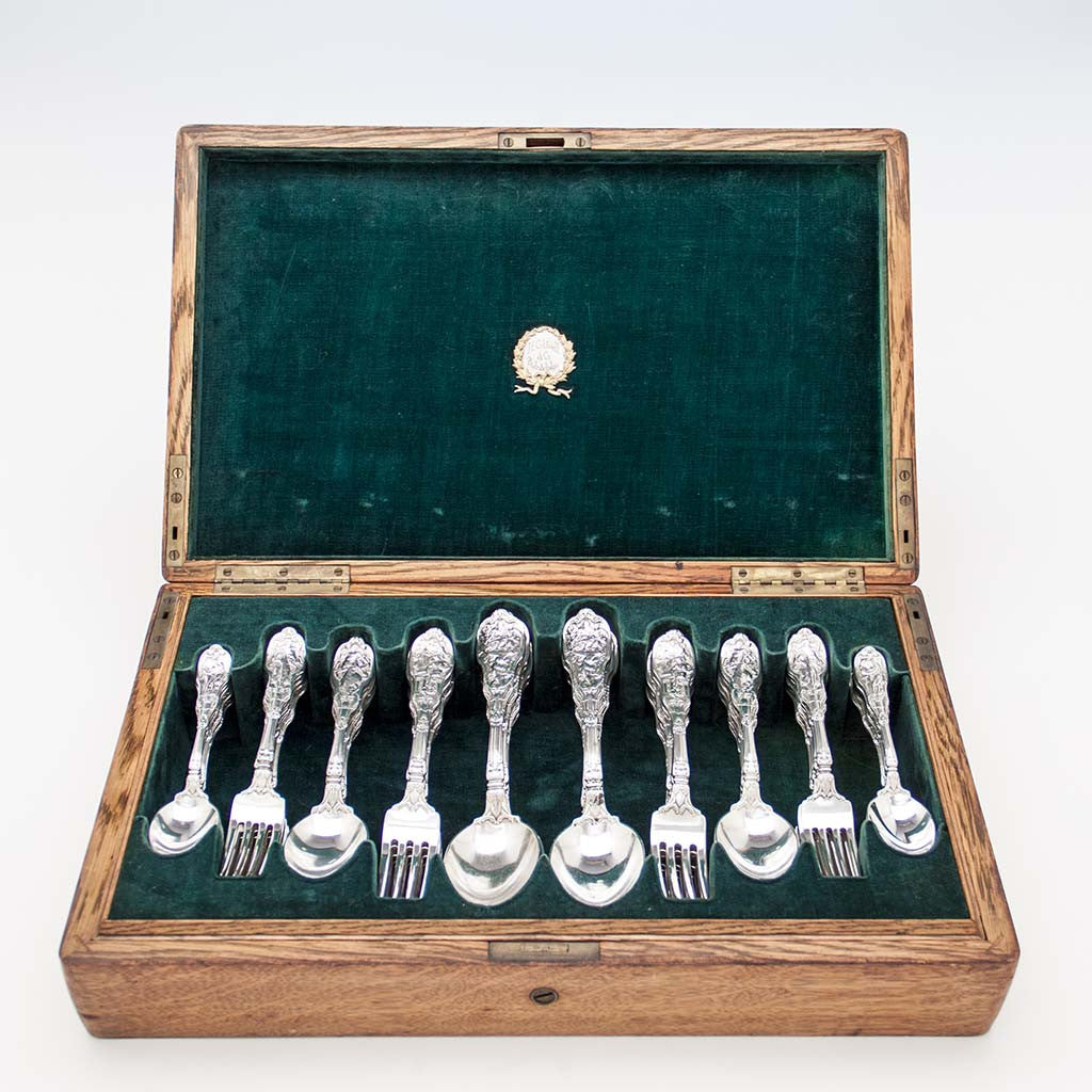 Gorham 'Mythologique' Pattern Antique Sterling Silver Flatware Service, Providence, RI, c. 1900, Retailed by J. E. Caldwell, Philadelphia, PA