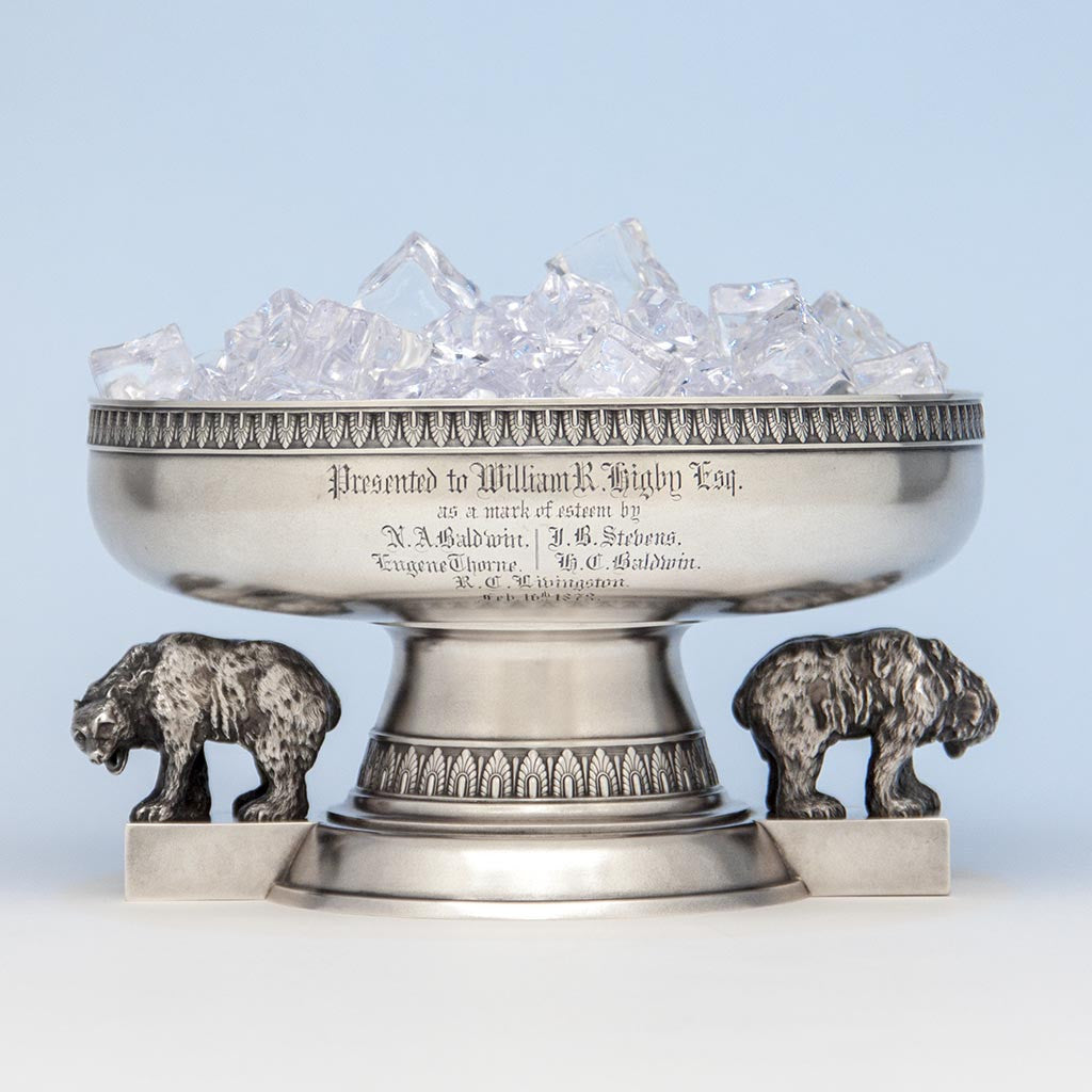 Tiffany & Co./ Edward C. Moore Antique Sterling Silver Figural Ice Bowl, New York City, c. 1873