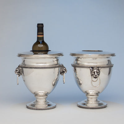 Champagne in Tiffany & Co./ John C. Moore Pair of Antique Sterling Silver Wine Coolers, New York City, 1856-70