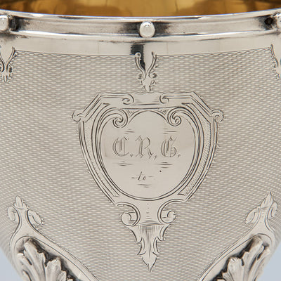 Monogram on Gorham Antique Coin Silver Covered Sugar Bowl, Providence, RI, 1859 of Rhode Island historical interest