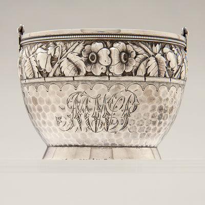 Monogram on Durgin Antique Sterling Silver Creamer & Sugar, Concord, NH, c. 1880's