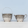 Durgin Antique Sterling Silver Creamer & Sugar, Concord, NH, c. 1880's