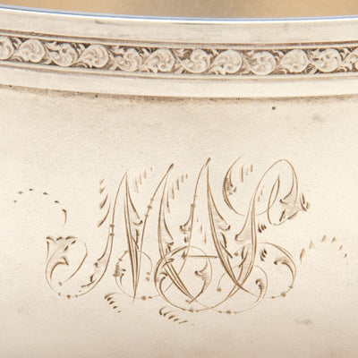Monogram on American Antique Sterling Creamer and Sugar, retailed by DH Buell, Hartford, CT, c. 1875