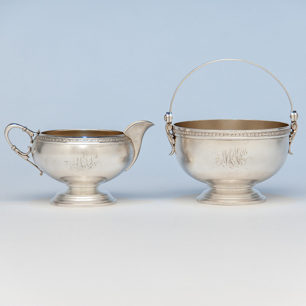 American Antique Sterling Creamer and Sugar, retailed by DH Buell, Hartford, CT, c. 1875