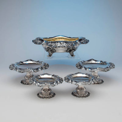 Gorham Antique Sterling Silver 'Special Order' Garniture Suite, Providence, RI, 1900