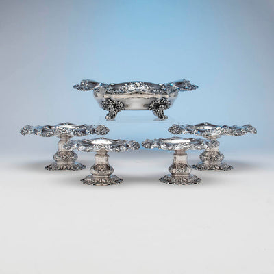 Side view of Gorham Antique Sterling Silver 'Special Order' Garniture Suite, Providence, RI, 1900