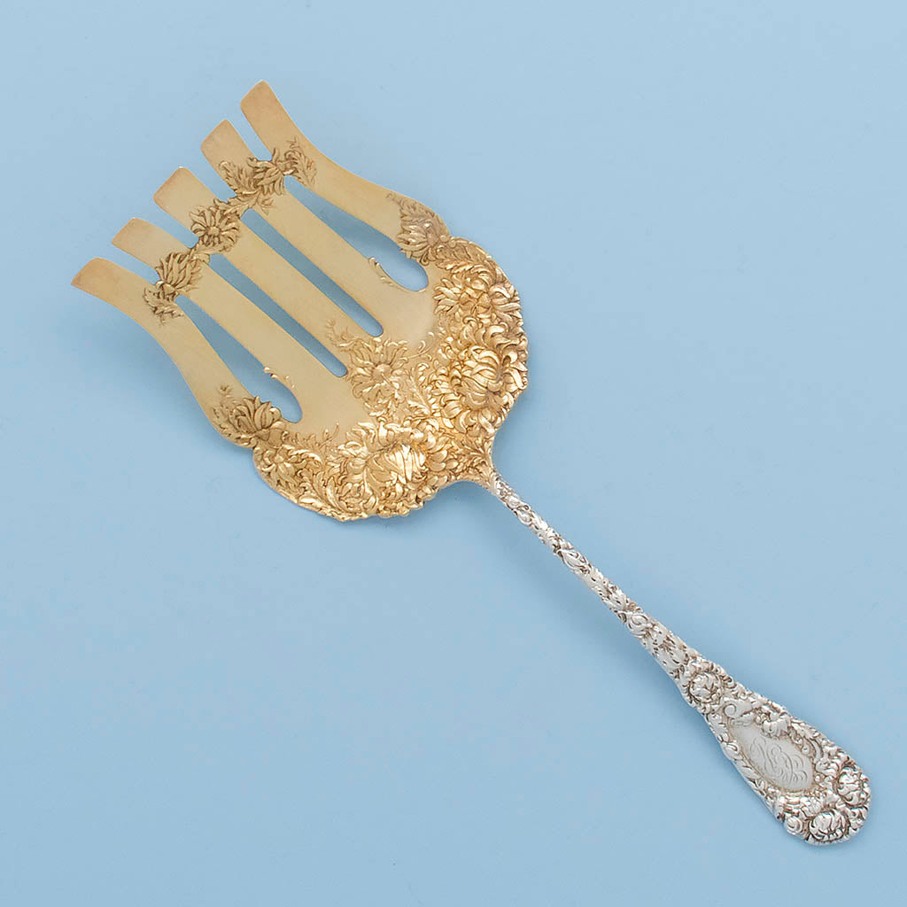 Durgin 'Chrysanthemum Antique Sterling Silver Asparagus Server, Concord, NH, c. 1890's