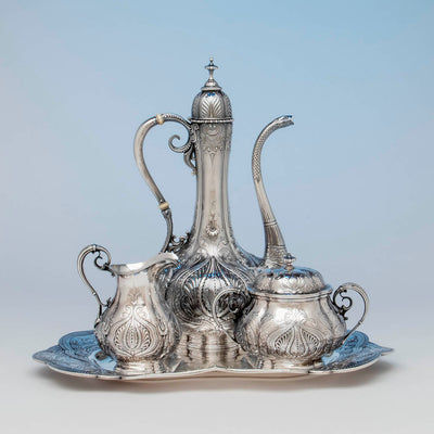 Gorham Antique Sterling Silver Black Coffee Service, Providence, RI, 1896-97