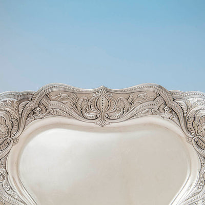 Tray border to Gorham Antique Sterling Silver Black Coffee Service, Providence, RI, 1896-97