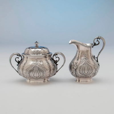 Creamer and sugar to Gorham Antique Sterling Silver Black Coffee Service, Providence, RI, 1896-97
