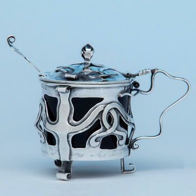 E. Baker and Son Art Nouveau Sterling Silver Mustard Pot, Birmingham, England, 1902/03