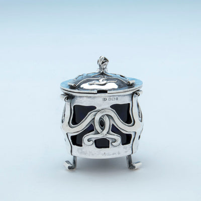 Marks on E. Baker and Son Art Nouveau Sterling Silver Mustard Pot, Birmingham, England, 1902/03