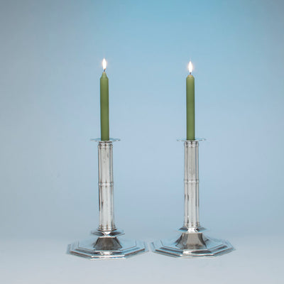 Pair of John Hunt Massive Arts and Crafts Sterling Candlesticks, Boston, 1906, 1936