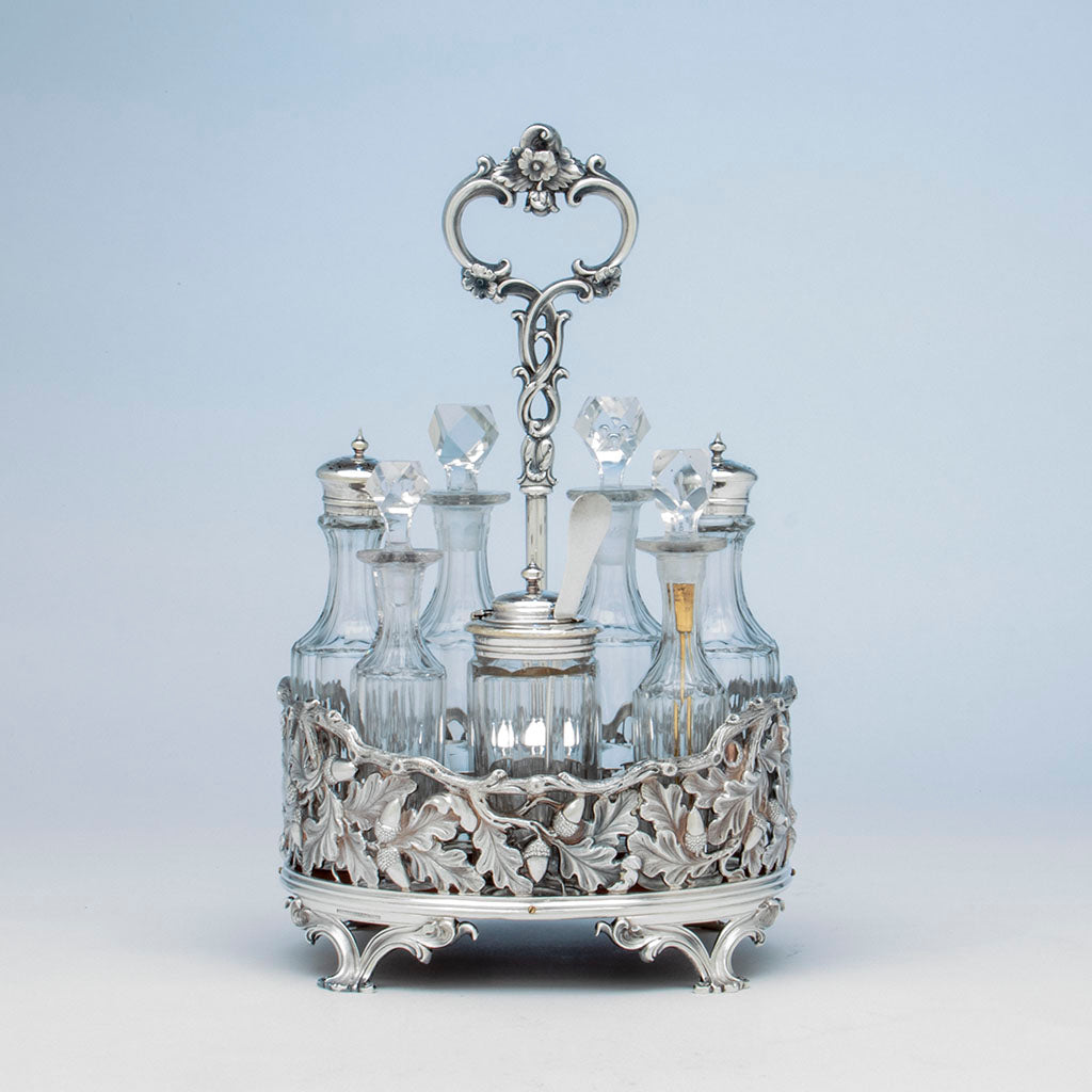 Vincent Laforme (attr.) Jones, Ball & Poor Coin Silver Cruet Set, Boston, MA, 1848-51