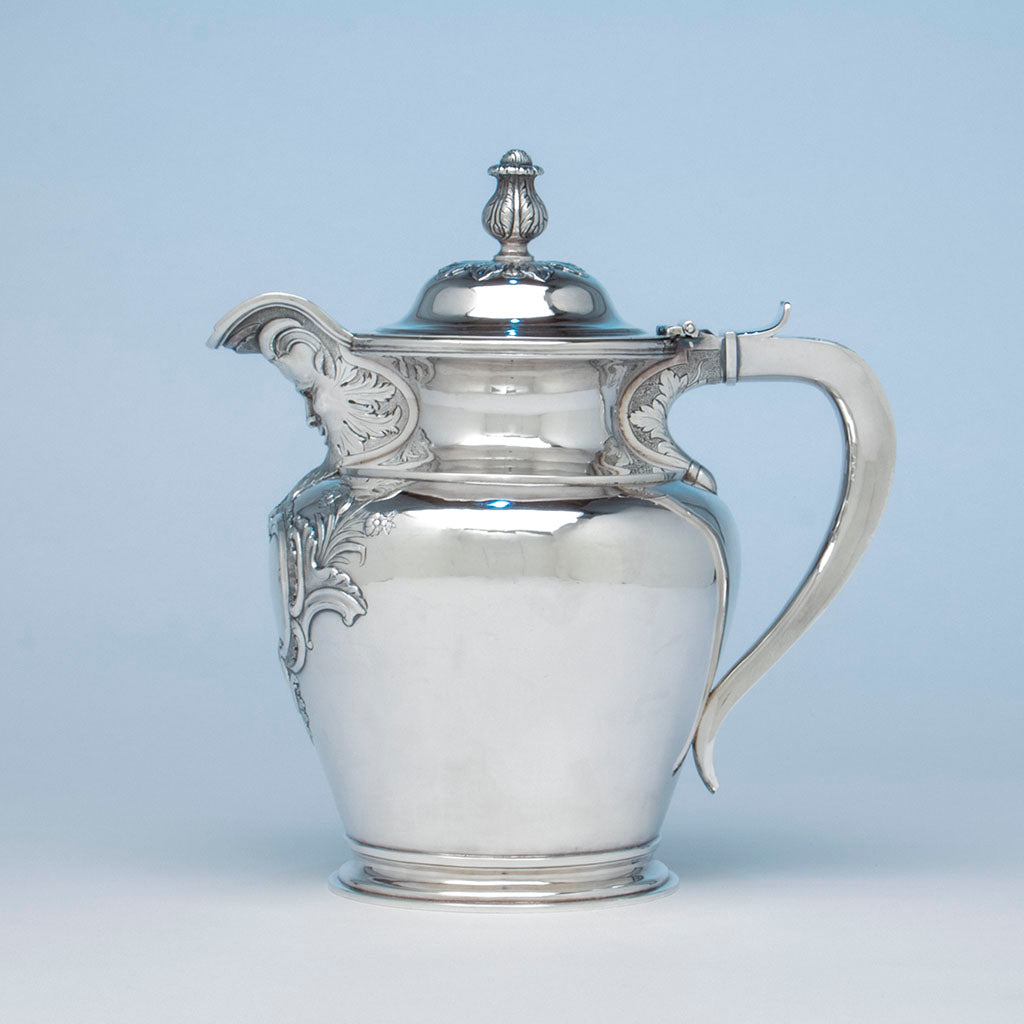 Obadiah Rich (attr.) Coin Silver Lidded Jug retailed by Jones, Lows & Poor, Boston, 1839