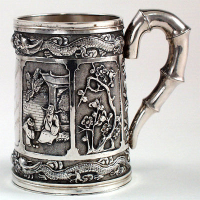Reverse side of Luen Wo Chinese Export Silver Repousse Cup, Shanghai, c. 1910