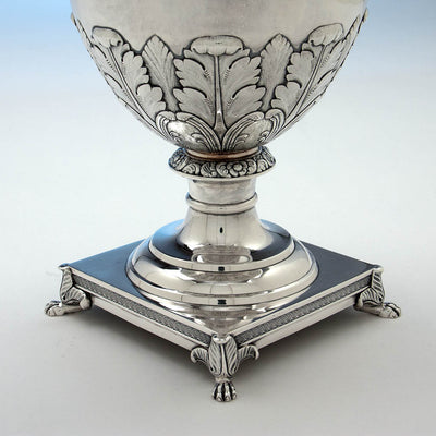 Base of Thomas Fletcher Antique Coin Silver Ewer, Philadelphia, c. 1830