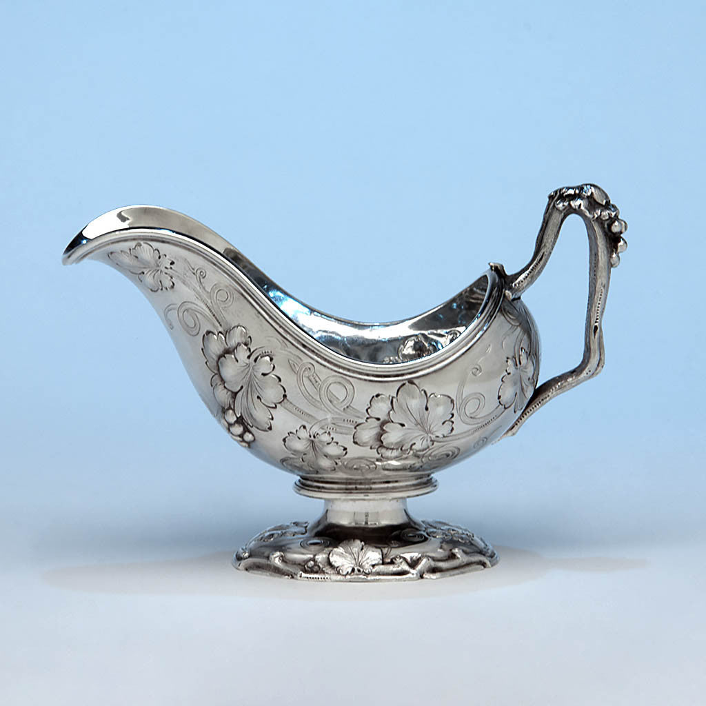 John Chandler Moore for Tiffany & Co. Antique Coin Silver Sauce Boat, New York City, c. 1853