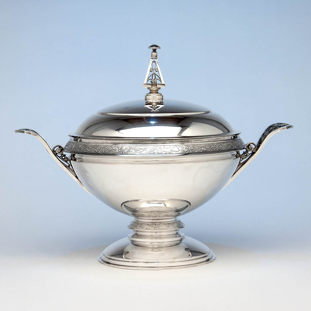 Wood & Hughes 'Japanese' Pattern Aesthetic Movement Antique Sterling Silver Covered Soup Tureen, New York City, early 1870's