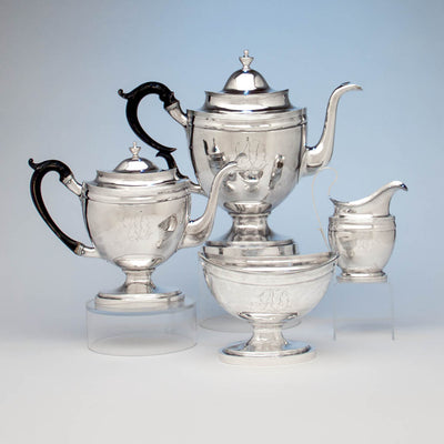 John McMullin Antique Coin Silver Coffee Set, Philadelphia, PA, 1805