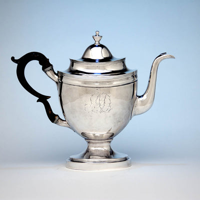 Coffee pot to John McMullin Antique Coin Silver Coffee Set, Philadelphia, PA, 1805