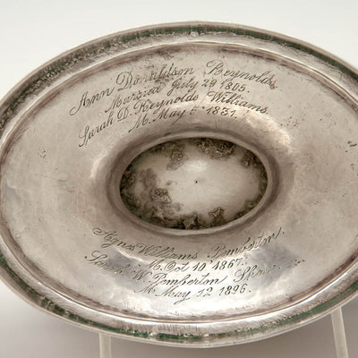 Inscription on John McMullin Antique Coin Silver Coffee Set, Philadelphia, PA, 1805