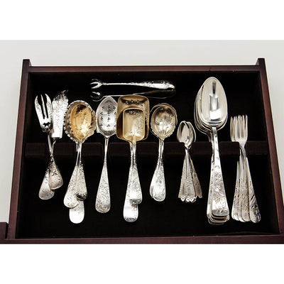 Drawer 1 of American Antique Sterling Silver Assembled Bright-cut Flatware Service, c. 1880's
