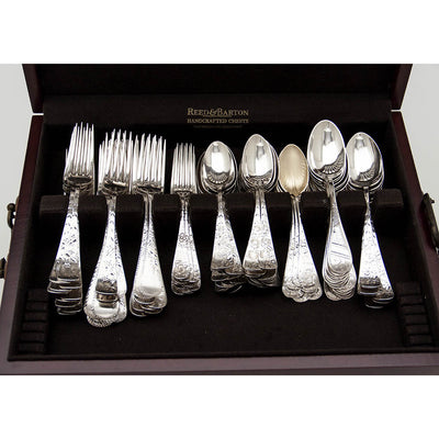 Top level of American Antique Sterling Silver Assembled Bright-cut Flatware Service, c. 1880's