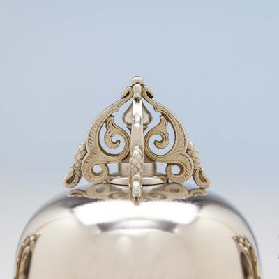 Tiffany & Co. Antique Sterling Silver 'Mooresque' Covered Sugar Bowl, New York City, 1873