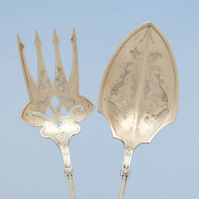 Engraving on Whiting 'Arabesque' Pattern Antique Sterling Silver Salad Set , New York City, c. 1875