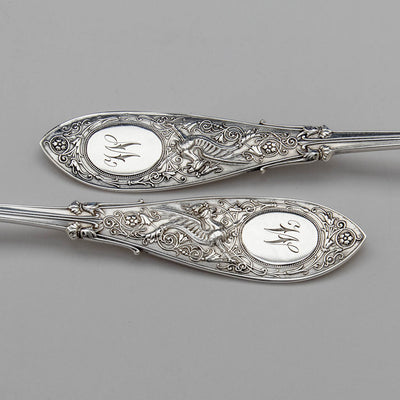 Detail of Whiting 'Arabesque' Pattern Antique Sterling Silver Salad Set , New York City, c. 1875