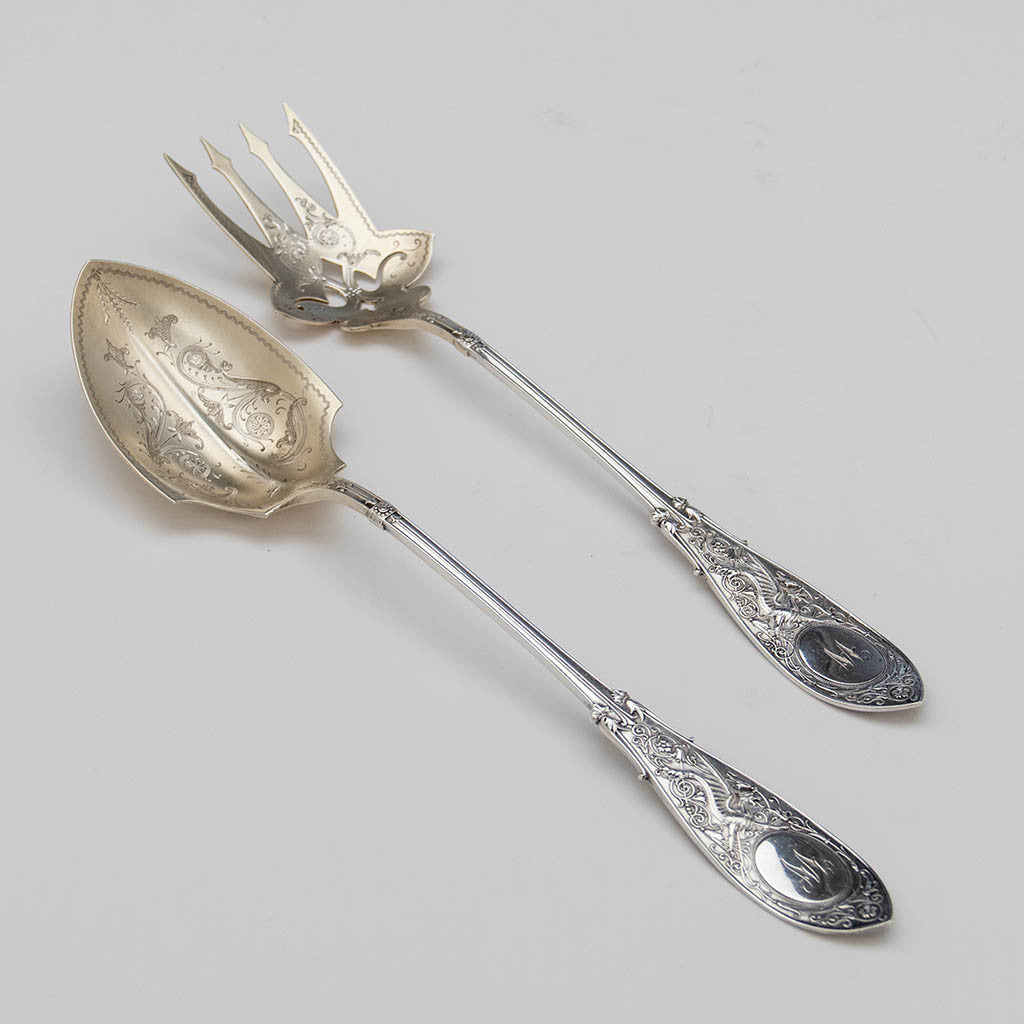 Whiting 'Arabesque' Pattern Antique Sterling Silver Salad Set , New York City, c. 1875