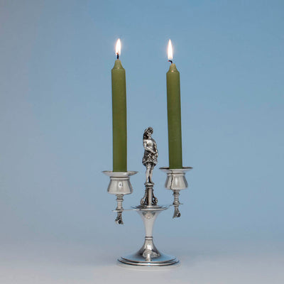 Angle view of Gorham Antique Sterling Silver Figural Candelabra, NY, NY, 1876