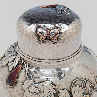 Tiffany & Co Antique Sterling and Mixed Metal Tea Caddy in the Japanese Taste, c. 1880