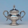 John C. Moore Antique Coin Silver Covered Sugar Bowl, NYC, c. 1840's