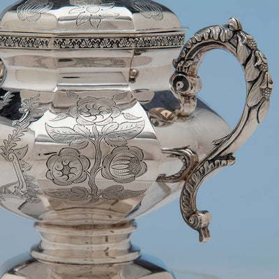 Decoration on John C. Moore Antique Coin Silver Covered Sugar Bowl, NYC, c. 1840's
